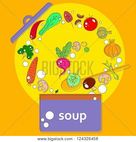 vector pan with open lid, which cooks vegetarian soup vegetables on the background ladle