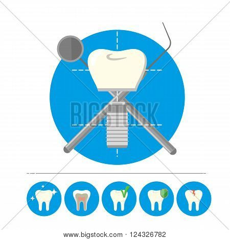 Dental tools with tooth set. Vector tooth icon. Dental care symbol. Tooth logo isolated vector illustration. Human tooth vector. Isolated tooth. Dental logo. White tooth. Clean tooth.
