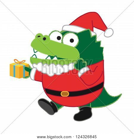 Green crocodile min Santa clause suit and present