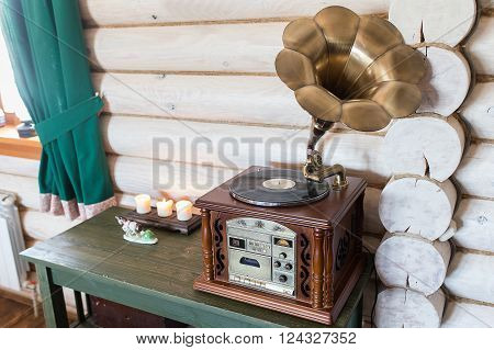 Antique Gramophone Standing On The Dresser