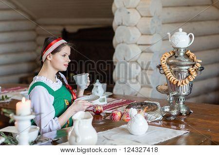 Beautiful Woman Portrait In Russian Style