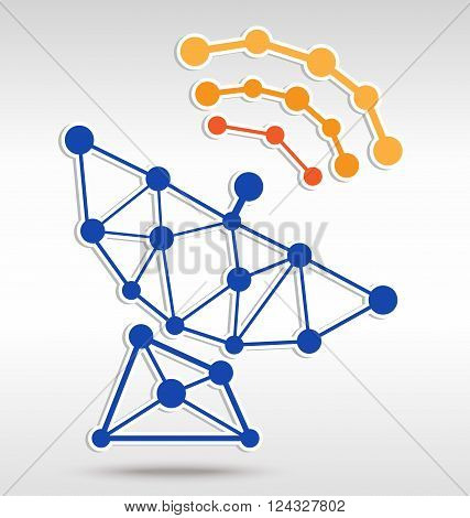 Antenna in dot network graphic and vector style