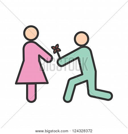 Proposal, marriage, ring icon vector image. Can also be used for humans. Suitable for web apps, mobile apps and print media.