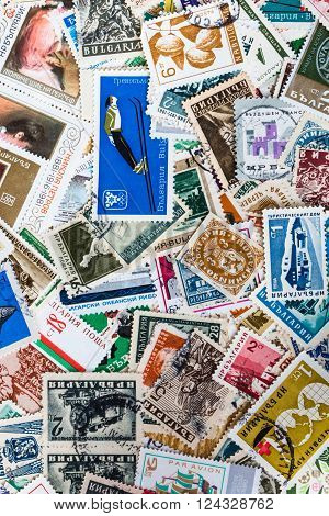 Background of different brands of Bulgarian stamps