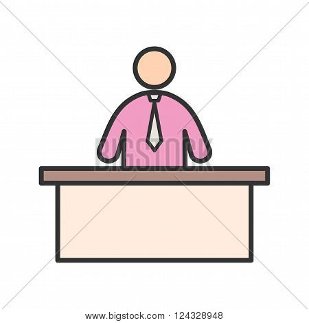 Receptionist, call, center icon vector image. Can also be used for humans. Suitable for use on web apps, mobile apps and print media.
