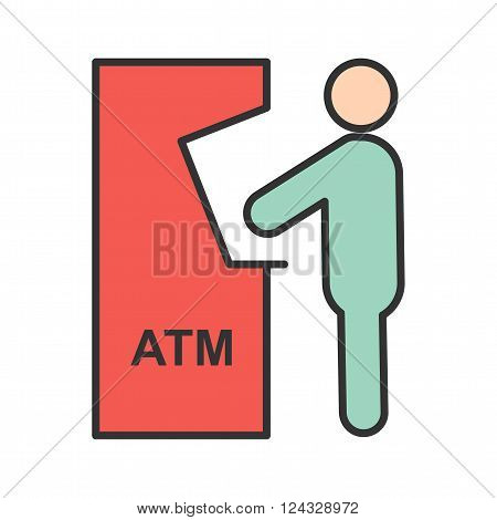 Atm, receipt, card icon vector image. Can also be used for humans. Suitable for use on web apps, mobile apps and print media.