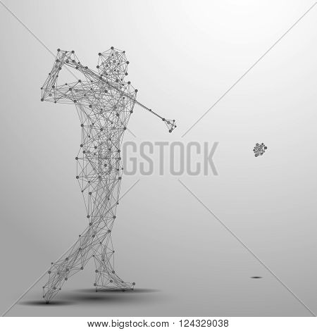 Abstract golfer in motion with cybernetic particles. Gray triangle thin line mesh spheres. Futuristic technology style.