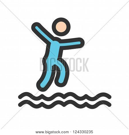 Cliff, jump, water icon vector image. Can also be used for outdoor fun. Suitable for use on web apps, mobile apps and print media.