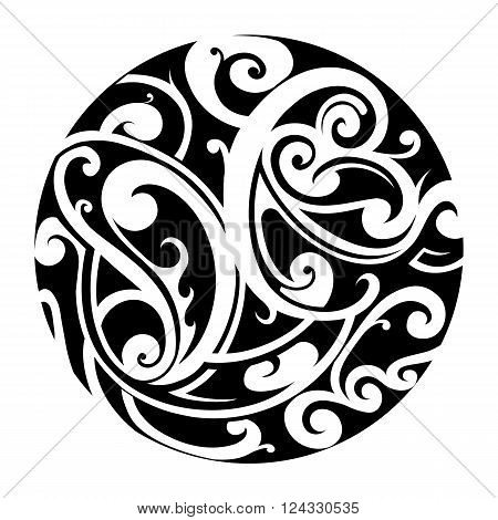 Circle shape tattoo with Maori style ornament and floral elements