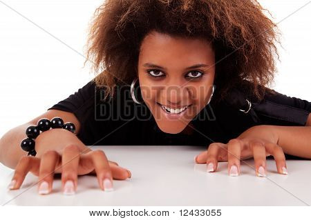 Beautiful Black  Woman, Isolated On White Background.studio Shot.