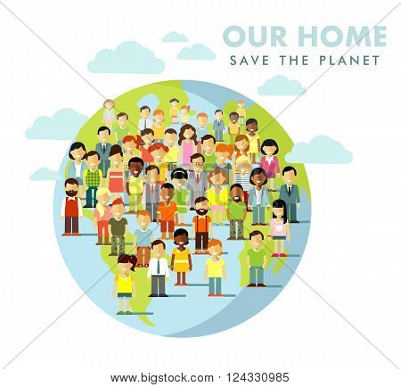 Different multi cultural multi ethnicity people crowd on planet Earth background