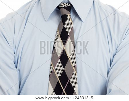 Man Wearing Wrinkled Blue Shirt With Necktie, Isolated