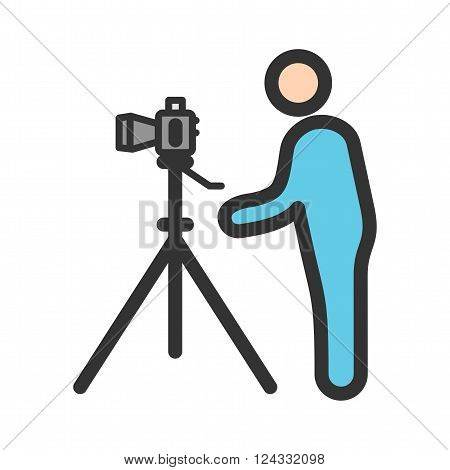 Photographer, camera, professional icon vector image. Can also be used for photography. Suitable for use on web apps, mobile apps and print media.