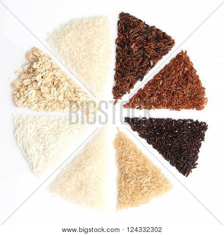 Thai cargo rice is the creation of the thai rice eaperts and Japanese Brown rice Glutionus Mixed whole grain traditional thai rices best rices for healthy on a white background