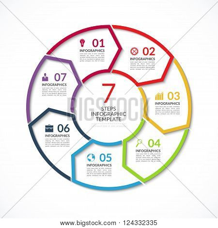 Infographic circle template. Simple vector concept banner with 7 options, steps, parts. Can be used for graph, report, presentation, diagram, chart, web design