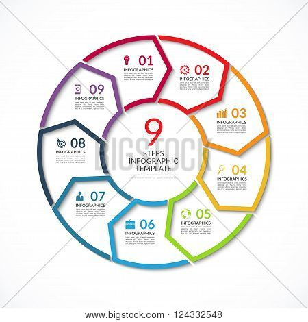 Infographic circle template. Simple vector concept banner with 9 options, steps, parts. Can be used for graph, report, presentation, diagram, chart, web design