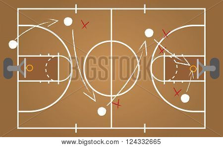 Basketball court - vector illustration - isolated