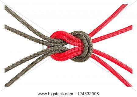 Different Ropes Tied Isolate On White With Clipping Path