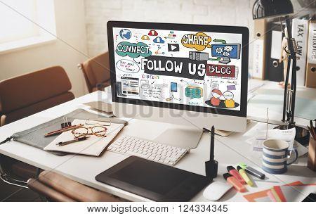 Follow us Social Media Connection Followers Concept