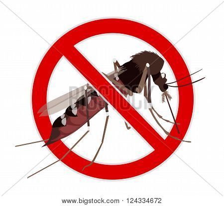 No Mosquito sign. Mosquito crossed by red line stop mosquito sign. Illustration on zika virus theme insect control design element.