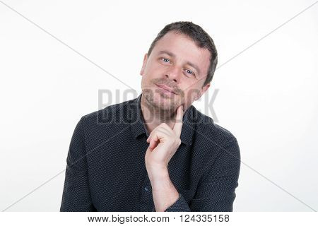 A Man doubting isolated over white background