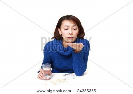 portrait of Asian woman suffers from melancholy