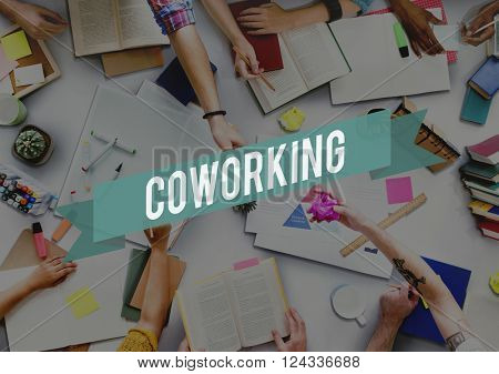 Colleagues Coworking Teamwork Corporate Collaboration Concept