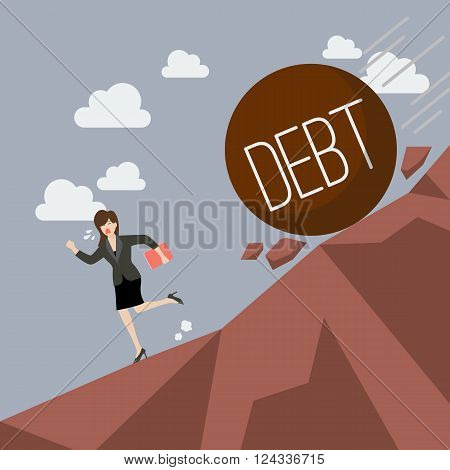 Business woman running away from heavy debt that is rolling down to her. Business concept
