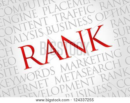 RANK word cloud business concept, presentation background