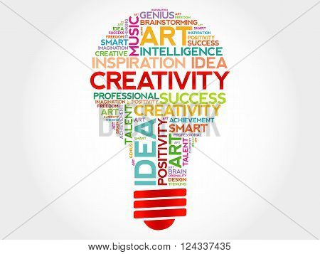 Creativity bulb word cloud concept, presentation background