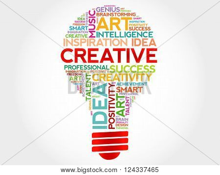 Creative bulb word cloud concept, presentation background