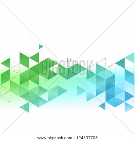 Vector Abstract template background with blue and green triangle. For brochure, cover, flyer design
