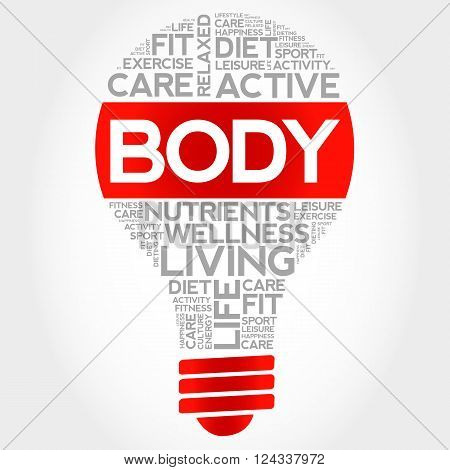 BODY bulb word cloud health concept, presentation background