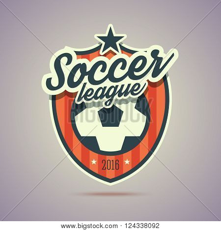 Soccer league badge. Retro vintage style with soccer ball sign and stars. Vector illustration in flat style for your web or print project.