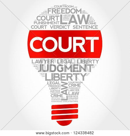 Court bulb word cloud concept, presentation background