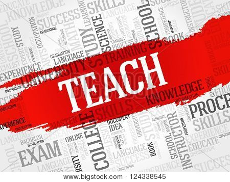 TEACH word cloud education concept, presentation background