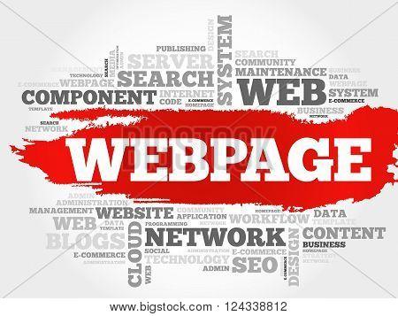Webpage word cloud business concept, presentation background