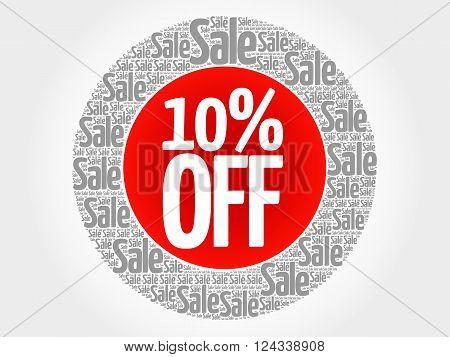 10% Off Stamp Vector Words Cloud
