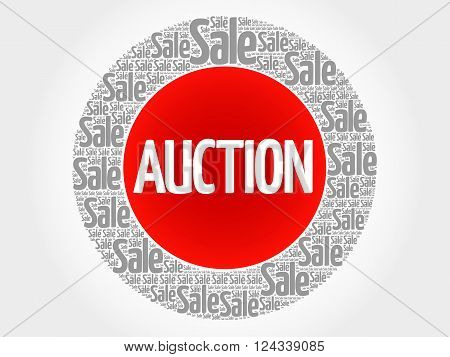 AUCTION stamp words cloud business concept background