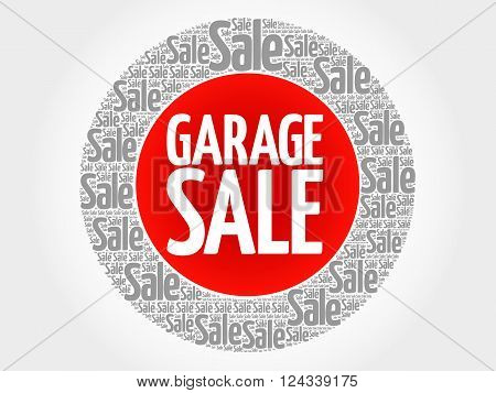 GARAGE SALE stamp words cloud business concept background