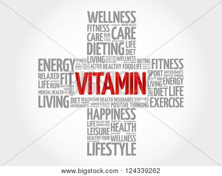 VITAMIN word cloud health cross concept, presentation background
