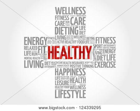 HEALTHY word cloud health cross concept, presentation background