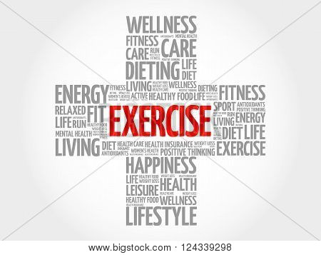EXERCISE word cloud health cross concept, presentation background