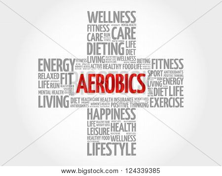 Aerobics word cloud health cross concept, presentation background