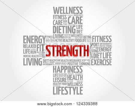 Strength word cloud health cross concept, presentation background