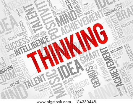 Thinking word cloud business concept, presentation background