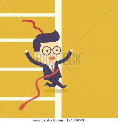 Businessman crossing finish line  the cartoon concept
