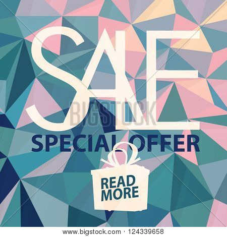 Sale banner on Low Poly Bright  green and pink Background. Sale template. Big sale. Super Sale and special offer. Triangular