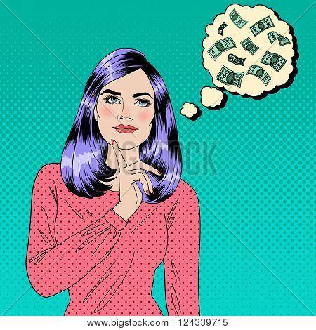 Girl Dreaming About Money. Pop Art Banner. Vector illustration