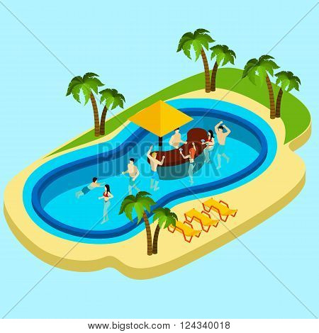 Water park and friends with water bar on blue background isometric vector illustration